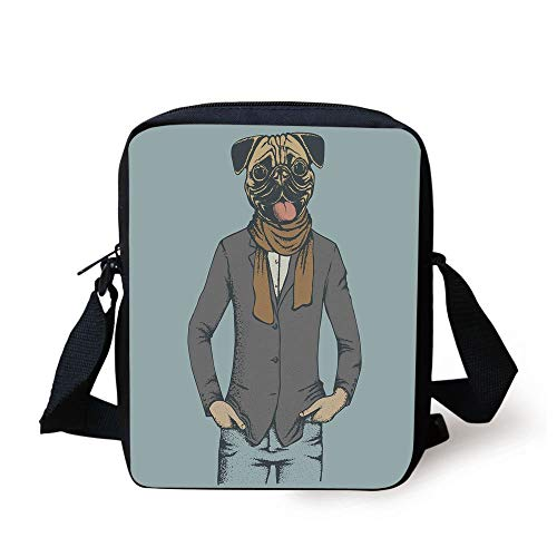 Pug,Abstract Image of a Dog with Human Proportions with Jacket Scarf and Jeans Absurd Decorative,Taupe Brown Blue Print Kids Crossbody Messenger Bag Purse -