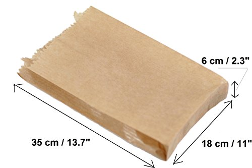 (100Stück) Kraft 350x 180x 60mm, 35x 18x 6cm Papier Geschenk Hochzeit Party Braun Merchandise Sack Papier-Staubsaugerbeutel Lunch Container Lebensmittel flach Craft Takeaway Sandwich, - Papier-lebensmittel-container