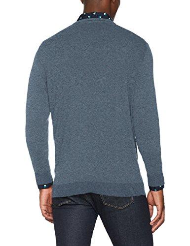 SELECTED HOMME Herren Pullover Shdtower Cot/Silk V-Neck Noos Blau (Blue Mirage)