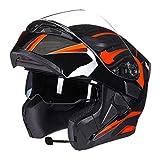 Männer Frauen Bluetooth Moto Motorrad Helm Voll/Halbe Gesicht Dual Lens Flip Up Motorradhelme Motocross Sicherheitskappen für Alle Jahreszeiten XL