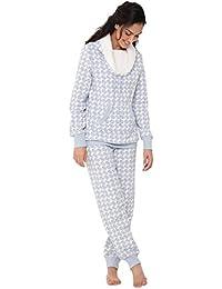 PajamaGram - Conjunto de pijama para mujer - Forro polar - Cuello desbocado