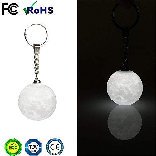 Mini Moonlight LED 3D Druck Schlüsselanhänger, Keychain 3D Moonlight Anhänger, für Mädchen Sicherheit Nightlight Keychain Geldbörse Keychain Autoschlüssel Tasche Rucksack
