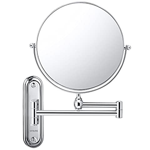 Spaire Bathroom Mirror 7X/1X Magnification Double-sided 8 Inch Wall Mounted Vanity Magnigying Mirror Swivel, Extendable and Chrome Finished