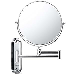 Spaire miroir salle de bain 7x grossissant normal double for Miroir trois faces salle de bain