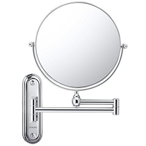 Spaire Espejo de baño 7X Espejo de Maquillaje Rotación de 360° Normal Doble Cara de 8 Pulgadas de Espejo Pared Extensible y Cromado afeitar Espejos