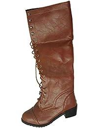 Yudesun Lace Up Mujer Botas Altas - Puntadas De Cuero Tacón Bajo Zapatos Acogedor Retro Martin
