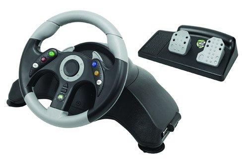 Mad Catz - Volante Microcon + Pedales, Color Negro (Xbox 360)