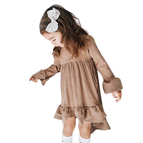 Livoral 2019 Kleidung Set Junge Kinderkleidung Mädchen langärmelige gestreifte gekräuselte Prinzessin unregelmäßiges Kleid(Kaffee,90) ...