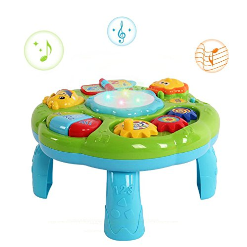 Musical Activity Table Baby Toys - Hanmun New Design BN16014 Laugh & Fun Electronic Educational Toddlers Toys for 6 month+ Baby kids Children Green Color (Green)