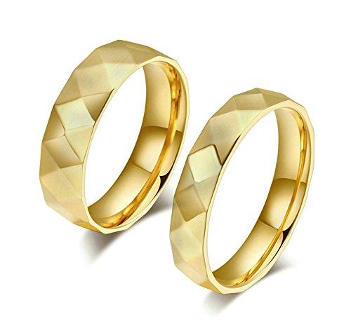 Jiedeng Schmuck Unisex Ringe aus Edelstahl Ring mit Karo Freundschaftsringe Partnerringe Ehering Trauringe für Herren-Ring Gold Größe 54 (17.2) (Karo-jacke Und Leder)