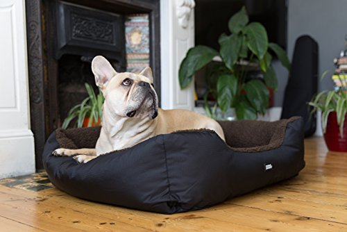 Luxury-Easy-Clean-Washable-Dog-Bed-Medium-3-Sizes-Brown-Snugpaws-RectangularSquare-BolsterNest-Pet-Bed-with-Removable-Covers