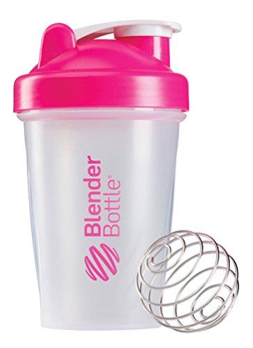 BlenderBottle Classic - Botella de agua y mezcladora, color pink-transparente, 590 ml