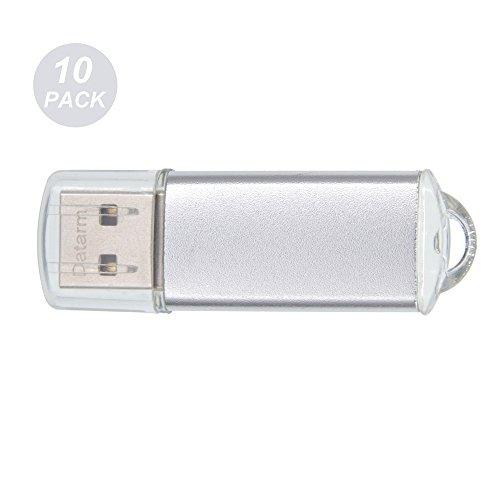 USB Flash Laufwerk 1GB 10 Stück Speichersticks - Tragbar Externe Geräte Datenspeicher Flash Drive - Silber Metall USB 2.0 Memory Stick Geschenk von Datarm