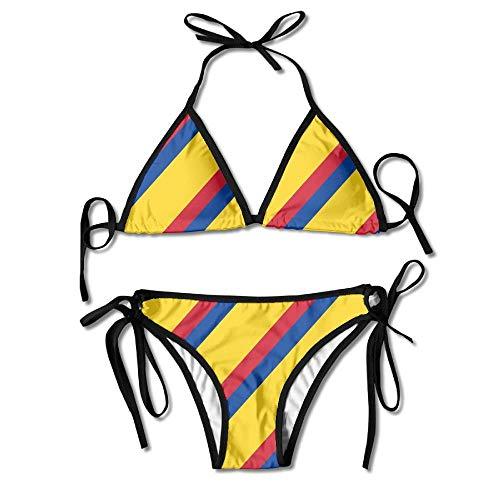 Slim Stripe of Colombia Flag Women's Bikini Set Tie Side Bottom Tops Swimwear Swimsuits -