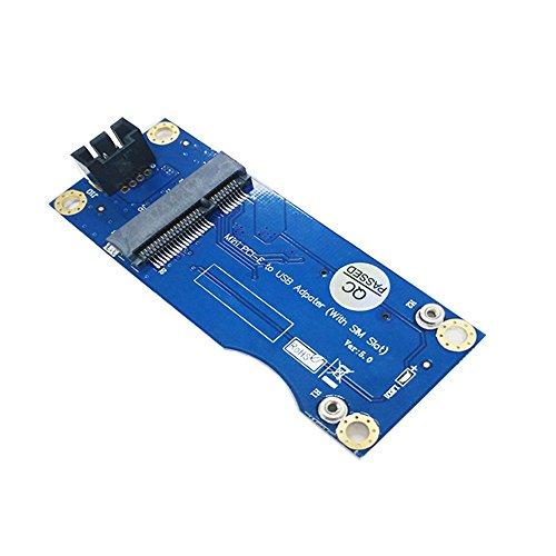 LeHang Mini PCI-E zu USB Adapter Mit SIM Karten Slot für WWAN/LTE Modul (Industriequalität - vertikale Schnittstelle) (Sim-karte-usb-adapter)
