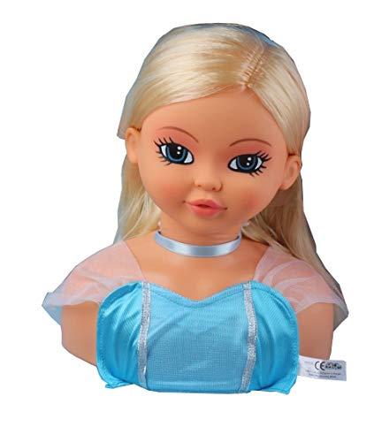 FALCA Busto Princess. Cabeza de muñeca para peinar y maquillar de 28 cm. Cabello Rubio Hermoso. Accesorios de Peinado y Maquillaje incluidos. Apta para niñas Mayores de 3 años