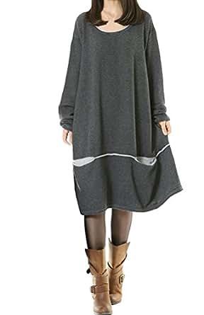 Voguees Tricoter Pull en Coton Longues Manches Femmes Gris L