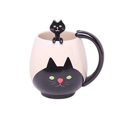 Prehelife Taza Negro Gato de la historieta animal encantadora de cerámica taza de leche té café + cuchara + posavasos