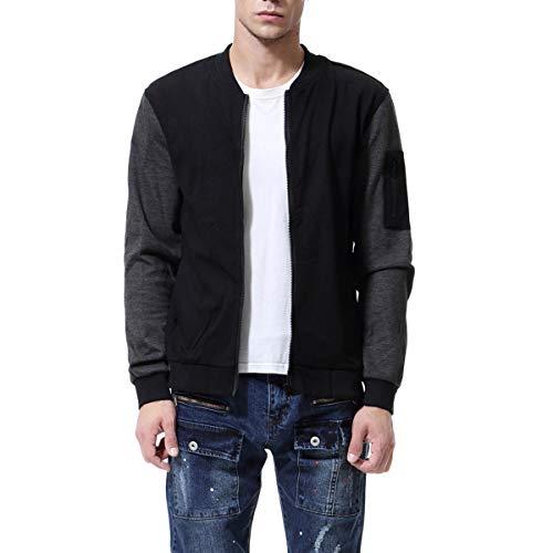AOWOFS Herren Sweatjacke Regular Fit Cardigan ohne Kapuze mit Reißverschluss Sweatshirt Herbst Schwarz Medium