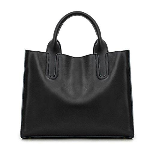 Topunique Damen Handtasche aus echtem Leder mit verstellbaren Trägern, Schwarz (schwarz), Small -