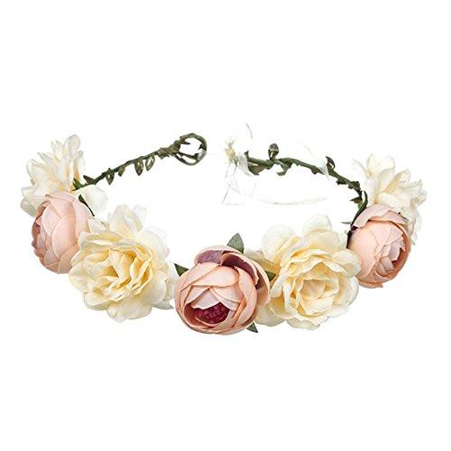 Schönheit Kopf (FORLADY Große rote Rosen-Blumen-Brautgirlanden-Bänder, Strand-Reise-Schönheits-Simulations-Blumen-Gurt-Strand-Kopf-Band-Schönheits-Göttin-Kranz)