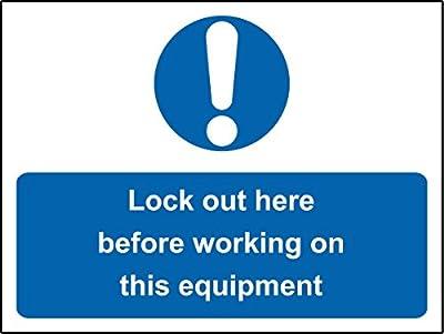 Gebotszeichen Lockout hier vor Arbeiten auf dieser Ausrüstung Sicherheit Schild–Sticker Selbstklebend 200mm x 150mm