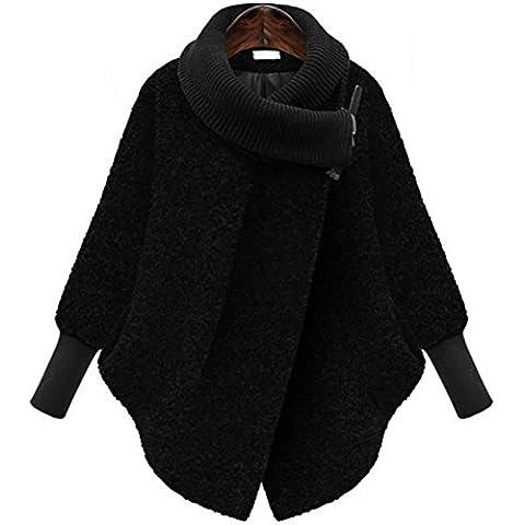 YUYU La manera de largo de manga larga chaqueta peluda Señora Delgado , black , l