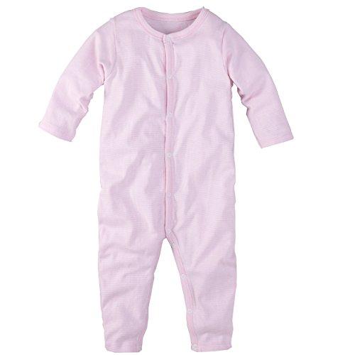 Schlafanzug, einteilig, langarm, rosa weiss geringelt, Gr. 116/122