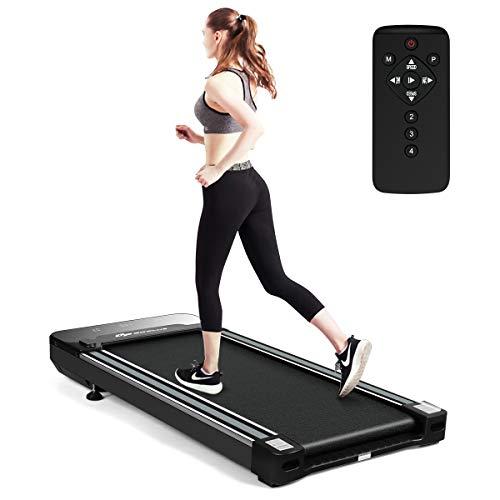 COSTWAY Elektrisches Walking Laufband, Laufband unter Schreibtisch, mit LED-Touchdisplay & Funkfernbedienung, 3 Trainingsmodi & 12 Programme, 0,8 - 6 km/h, Schwarz