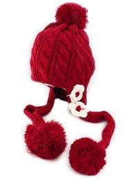BONAMART ® Winter Blume Kids Baby Kinder Stricken Mütze Wintermütze Hüte Mädchen Beanie Hut Rot