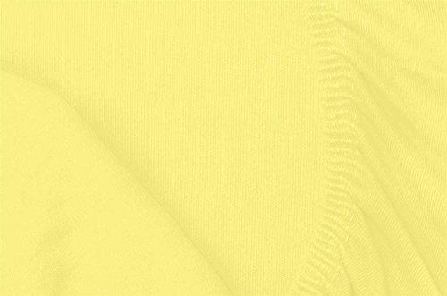 Double Jersey - Spannbettlaken 100% Baumwolle Jersey-Stretch bettlaken, Ultra Weich und Bügelfrei mit bis zu 30cm Stehghöhe, 160x200x30 Gelb - 7