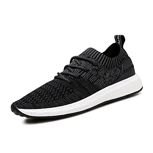 ZENGVEE Men's Trainers Lightweight Outdoor Running Shoes Fitness Sports Walking Shoes in Black size 44