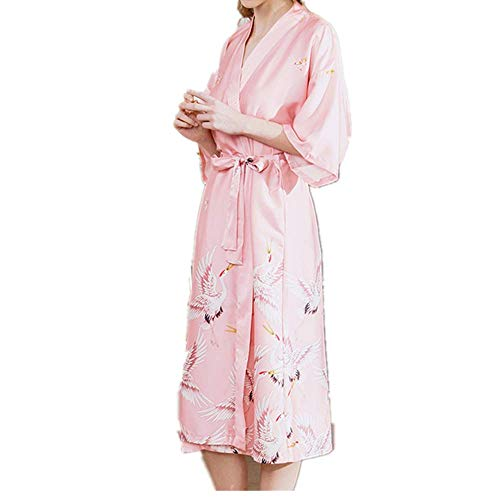 Aqua Floral Pyjama (ZREED Satin Kimono Peacock Kimono Robe für Frauen Hochzeit Mädchen Bonding Party Pyjamas)