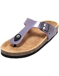 Damen Mädchen Bio Trend Pantoletten Sommerpantolette Schuhe Sandalen  Slipper Flats Zehengreifer Zehentrenner Tieffußbett Leder LILA METALLIC 2af3054e9b