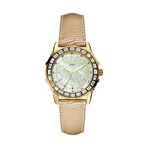 Guess - W0019L3 - Montre Femme - Quartz Analogique - Cadran Nacre - Bracelet Cuir Marron
