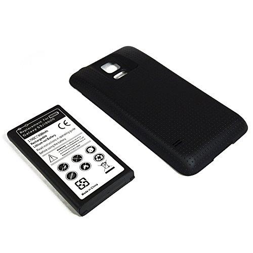 BATTERIA POTENZIATA 6500mAh + COVER MAGGIORATA NERA per Samsung Galaxy S5 i9600