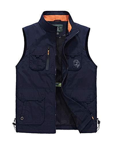 Outdoor Vest Taglia Grossa Lavoro Smanicato Uomo Gilet Pesca Multi-Tasca Blu Zaffiro 5XL