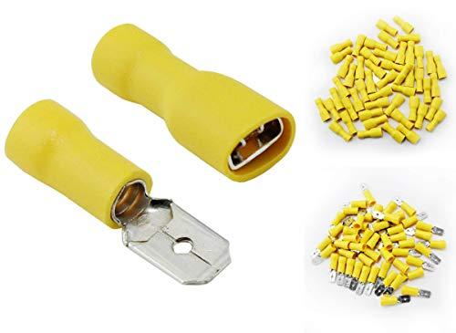Shentian Kabelschuhe x 100 - Flachstecker Gelb x 50 / Flachsteckhülsen Gelb x 50 - Steckmaß 6,3 mm, Quetschverbinder, Isolierte - Für Kfz