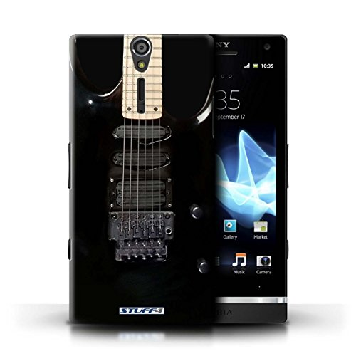 Kobalt® Imprimé Etui / Coque pour Sony Xperia S/LT26i / Sunburst Electrique conception / Série Guitare Noir Electrique
