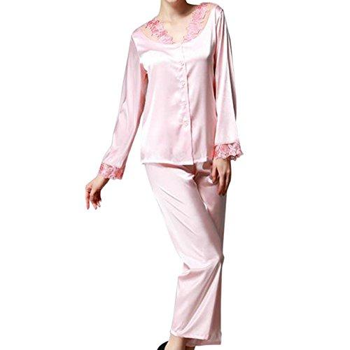 Zhuhaixmy Frauen 2 Stück Satin Seide Schlafanzüge Komfortabel Lange Ärmel Mädchen Taste Pyjama-Set Nacht Kleidung Lose Loungewear Spitzenkante Nachtwäsche (Pjs Satin 2 Stück)