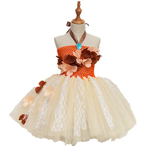 CHTENG Princess Moana Costume Tutu Dress for Girls Birthday Party Dress up Children Lace Tulle Flower Girl Dress