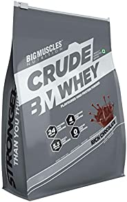 Bigmuscles Nutrition Crude Whey - 1 kg (Rich Chocolate), Whey Protein Concentrate 80%, 24g Protein, 5.5g BCAA,