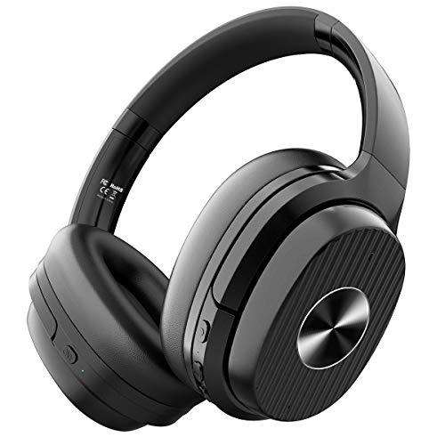 EKSA E5 Active Noise Cancelling Kopfhörer, 60 Std Wireless Bluetooth 5.0 Over Ear ANC Geräuschunterdrückende Kopfhörer CVC 8.0 Mikrofon Schnellladung Protein-Ohrpolster faltbar für Reise Büro