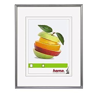 Hama Sevilla Bilderrahmen, DIN A4 (21 x 29,7 cm) mit Passepartout 15 x 20 cm, hochwertiges Glas, Kunststoff Rahmen, zum Aufhängen, silber