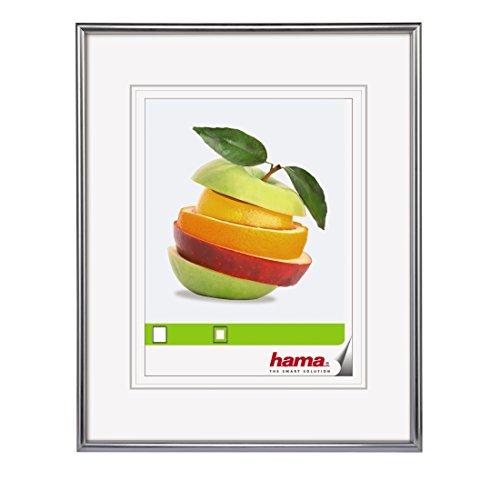 Hama Bilderrahmen Sevilla 20 x 28 cm (mit Passepartout 13 x 18 cm, hochwertiges Glas, Kunststoff Rahmen, zum Aufhängen) silber