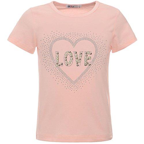 BEZLIT Mädchen Glitzer T-Shirt Herz Motiv Oberteil Kunst-Perlen 22538 Rosa 152