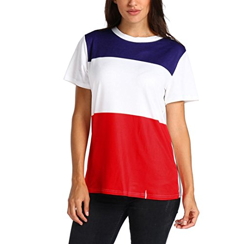 OYSOHE Women Ladies O Neck Short Sleeve Patchwork Printed Blouse Tops Clothes T Shirt