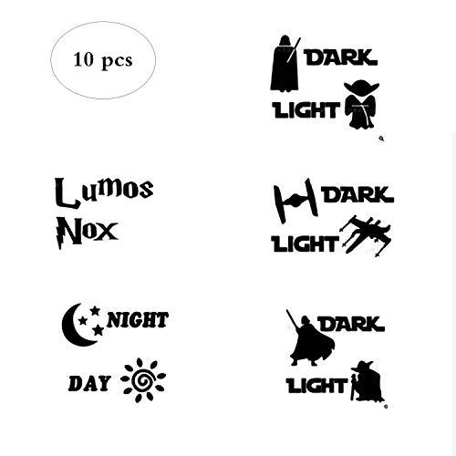 Lumos NOX Light Side Dark Side Lichtschalteraufkleber Light Switch Vinyl Decal Sticker,10 stuck