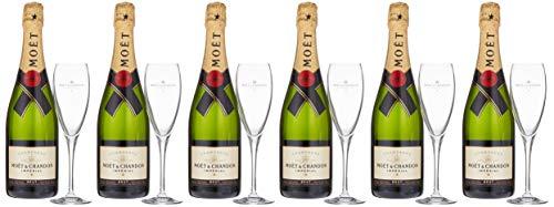 Moet & Chandon Brut Champagner Imperial Set mit Geschenkverpackung mit 6 Gläser (6 x 0.75l) (Champagner-set Von 6)