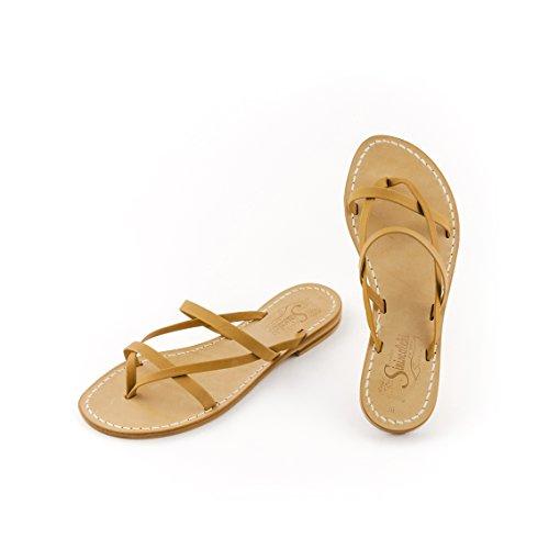 Handmade sandals in very leather - Sandali artigianali in vero cuoio e pelle - Modello Gea.